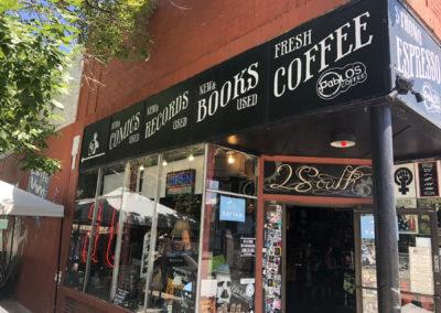 Mutiny Information Café storefront closeup
