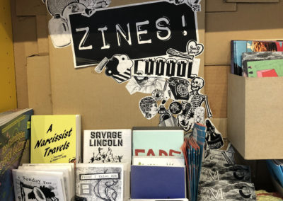 Zine Display at Mutiny Information Cafe