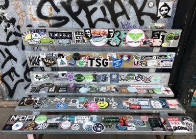 sticker bench warehouse district Denver