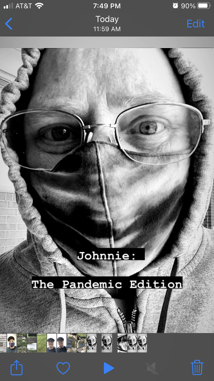 Johnnie the pandemic edition, black and white selfie of artist in hoodie.